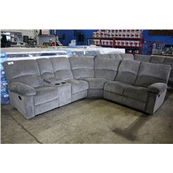 GREY RECLINING SECTIONAL SOFA WITH CONSOLE/CUP HOLDERS