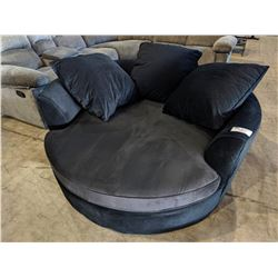 LARGE 2-TONE BLACK CUDDLE CHAIR WITH PILLOWS