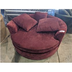 LARGE RED CUDDLE CHAIR WITH PILLOWS