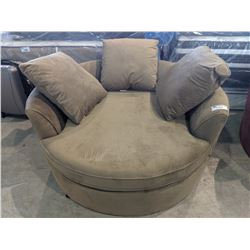 LARGE BEIGE CUDDLE CHAIR WITH PILLOWS