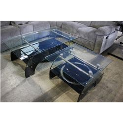 GLASS & CHROME COFFEE TABLE AND SIDE TABLE SET