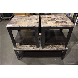STONE & WOOD COFFEE TABLE WITH PAIR OF MATCHING SIDE TABLES