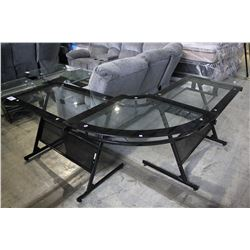 GLASS-TOP BLACK TRIPLE MOTOR CORNER DESK
