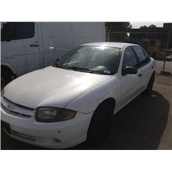 2003 CHEVROLET CAVALIER, 4DR SEDAN, WHITE, VIN # 1G1JC52FX37259688