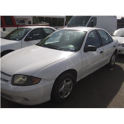 2003 CHEVROLET CAVALIER, 4DR SEDAN, WHITE, VIN # 1G1JC52F437250484