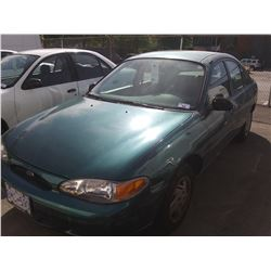 1998 FORD ESCORT SE, 4DR SEDAN, GREEN, VIN # 1FAFP13P9WW110870