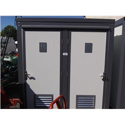 UNUSED 2019 BASTONE 110V PORTABLE TOILET WITH TWO TOILETS AND TWO SINKS, 2 DOORS