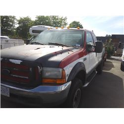 1999 FORD F-250, 2DR PU, RED/WHITE, VIN # 1FTNX21L9XEB66424