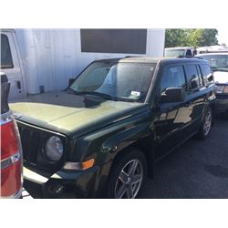 2008 JEEP PATRIOT, 4DR SUV, GREEN, VIN # 1J8FF28W18D702970