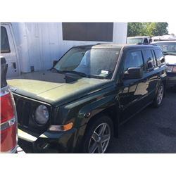 2008 JEEP PATRIOT, 4DR SUV, GREEN, VIN # 1J8FF28W18D702970
