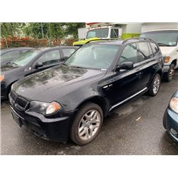 2006 BMW X3, 4DRSW, BLACK, GAS, AUTOMATIC, VIN#WBXPA93476WD25206, 230,512KMS,