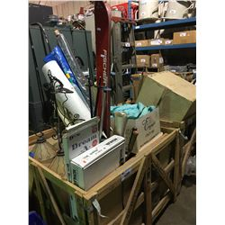 PALLET BIN OF ASSORTED SPILL CLEANUP, SPORTING GOODS, LIGHTING & HOUSEHOLD ITEMS