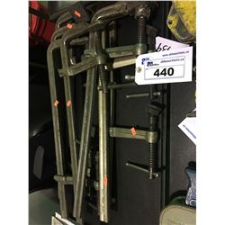 ASSORTED METAL C-CLAMPS & LARGE DRILL BITS IN STAND