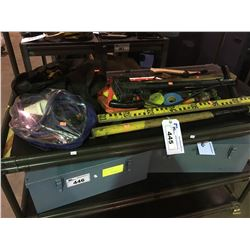 ASSORTED LARGE TOOLS, JUMPER CABLES, STOP SIGN & PUMP