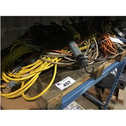 PALLET OF ASSORTED EXTENSION CORDS & TROUBLE LIGHTS
