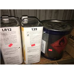 SMALL PALLET OF ASSORTED SOLVENTS, RESPIRATOR & TOOLS