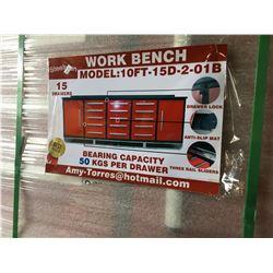 STEELMAN 10' RED / BLACK 15 DRAWER METAL HEAVY DUTY WORK BENCH