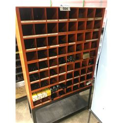 ORANGE METAL PARTS SHELF WITH STAND & HARDWARE CONTENTS