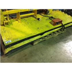 YELLOW 3' X 8' INDUSTRIAL ELECTRIC SCISSOR LIFT TABLE WITH FOOT CONTROL