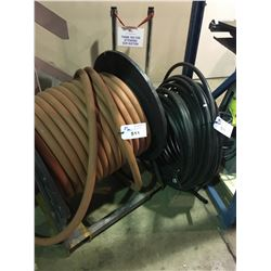 """REEL OF 200 PSI 1-1/4"""" ID AIR HOSE AND ROLL OF BLACK 1"""" POLYTUBING"""