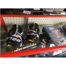 "SHELF OF ASSORTED BAUER 12"" GLOVES AND ASSORTED MEN'S AND WOMEN'S SAFETY CUPS"
