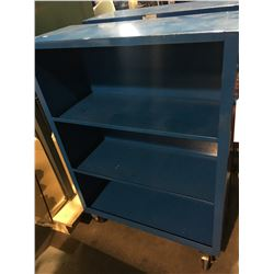 BLUE METAL 4 TIER MOBILE SKINNY AISLE SHOP CART