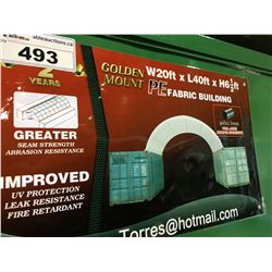 GOLDEN MOUNT 20'W X 20'L X 6 1/2'H PE FABRIC CONTAINER ARCH STORAGE BUILDING