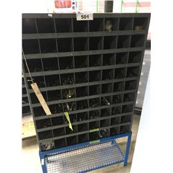 GREY METAL PARTS SHELF WITH STAND & HARDWARE CONTENTS