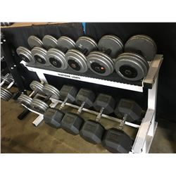 WHITE NORTHERN LIGHTS 2 TIER WEIGHT RACK WITH ASSORTED HEAVY DUMB BELL WEIGHTS