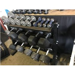 BLACK 3 TIER WEIGHT RACK WITH ASSORTED HEAVY DUMB BELL WEIGHTS