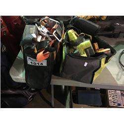 2 TOOL BAGS  WITH SAFETY HARNESSES AND RYOBI ELECTRIC HAND PLANER