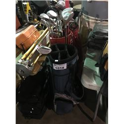3 ASSORTED GOLF BAGS WITH CLUBS