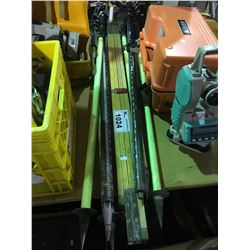 ASSORTED LOT OF SURVEY TRIPODS AND MEASURE STICK