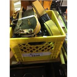 CRATE OF ASSORTED RATCHET STRAPS