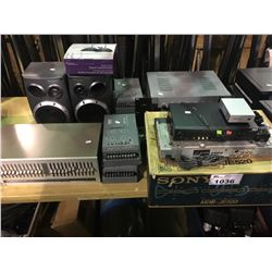 ASSORTMENT OF STEREO COMPONENTS, PIONEER SPEAKERS & PEAVY PA SYSTEMS
