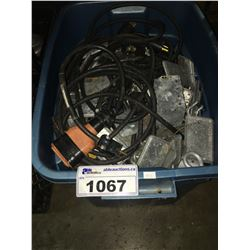BIN OF ASSORTED LIGHTING EXTENSION CORDS & JUNCTION BOXES