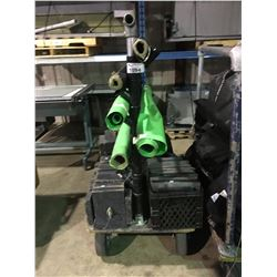 PNEUMATIC CART WITH GREEN MATERIAL & STAGE BLOCKS