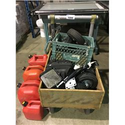 PNEUMATIC CART WITH CASTERS & JERRY CANS