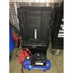 HUSKY PLASTIC TOOL BOX & MAXIMUM PROTECTIVE CASE & MASTERCRAFT AIR COMPRESSOR
