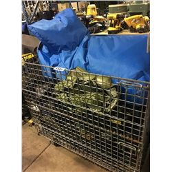 PALLET BIN OF ASSORTED DUFFLE BAGS, BEAN BAG CHAIR & SAFETY PADS (BIN NOT INCLUDED)