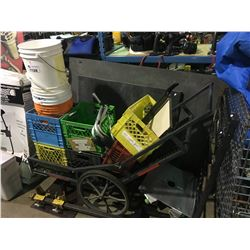 MOBILE CART WITH MILK CRATES & RIGGERS TOOLS