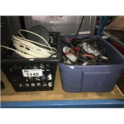 2 BINS OF ASSORTED ELECTRICAL & CABLE