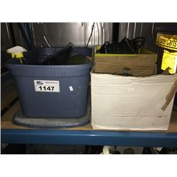 BIN & 2 BOXES OF CHARGERS, INVERTERS & CAR CLEANING SUPPLIES