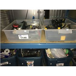 2 BINS OF ASSORTED INVERTER, TOOLS & PRECISION SCREWDRIVERS
