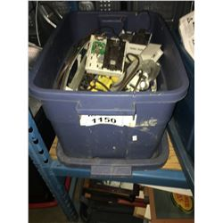 BIN OF ASSORTED THERMOSTATS & ELECTRICAL