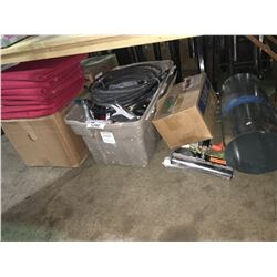 ROLL OF METAL, SEAT CREEPER, BOX OF FABRIC, ROLLER STANDS & BIN OF ASSORTED TOOLS
