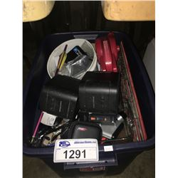 BIN OF ASSORTED ELECTRICAL PRODUCTS