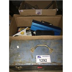 2 BOXES OF ASSORTED TOOLS & BLUE TOOL BOX WITH CONTENTS
