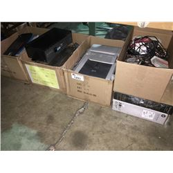 4 BOXES OF ASSORTED ELECTRICAL & PRINTERS