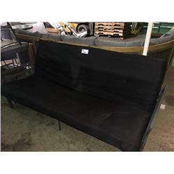 BLACK / GREY METAL FRAMED FUTON COUCH
